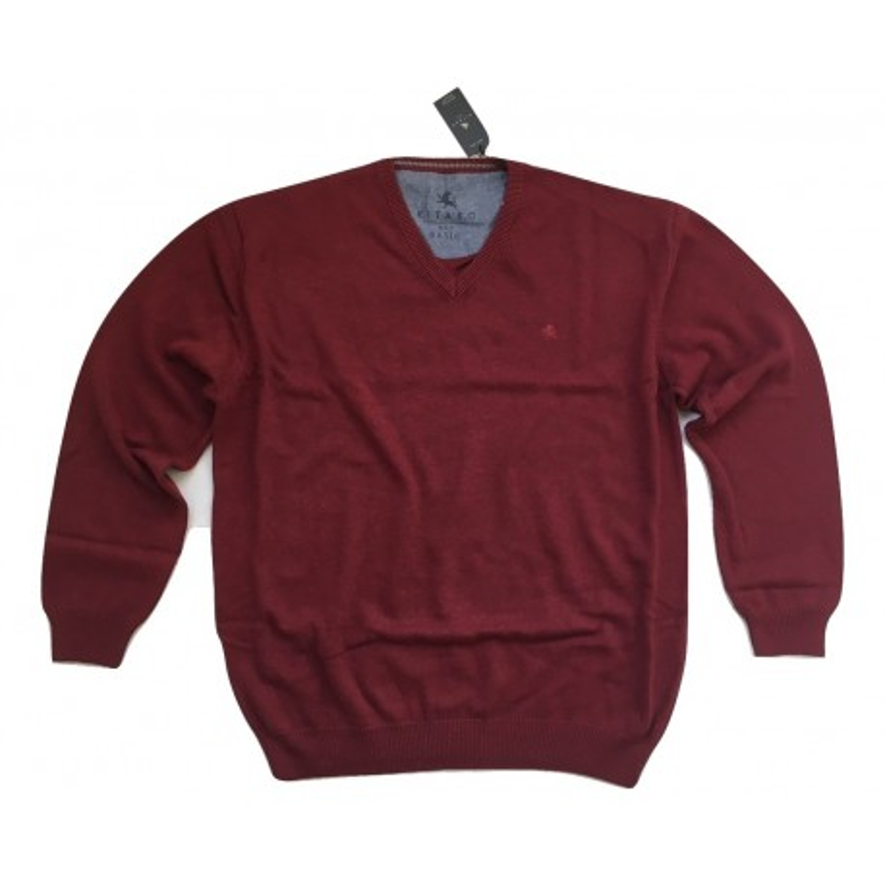 Sweter w serek bordowy KITARO