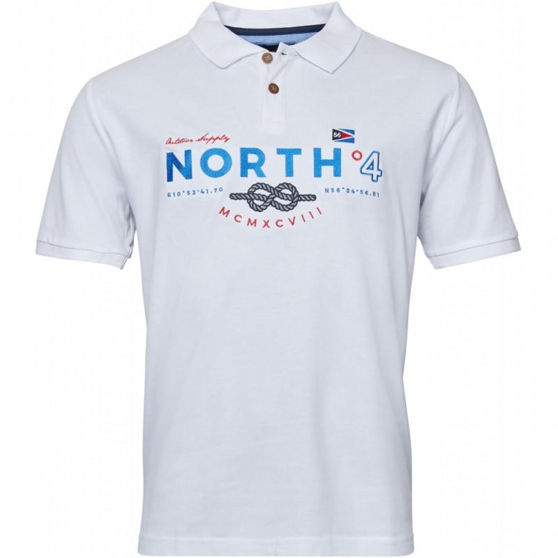 Koszulka polo biała North 56°4 z haftem