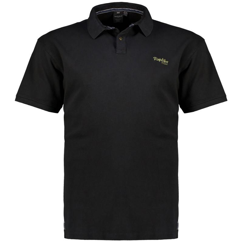 Koszulka polo Replika Jeans czarna